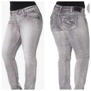 Silver Suki Flap Skinny Jeans Size 22